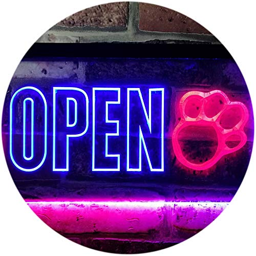 ADVPRO Open Paw Print Dog Cat Grooming Shop Dual Color LED Barlicht Neonlicht Lichtwerbung Neon Sign Red & Blue 400mm x 300mm st6s43-j0792-rb