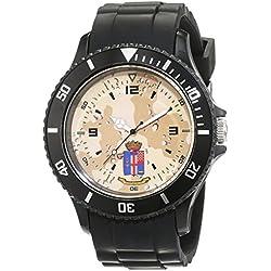 Trias Men's Quartz Watch with Black Dial Analogue Display Quartz Rubber Door 44