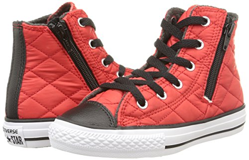 Converse Star Hi Side Zip Tex - C2 Sneaker,Unisex Bambino, Rosso (C.Red/Black Quilted), 33