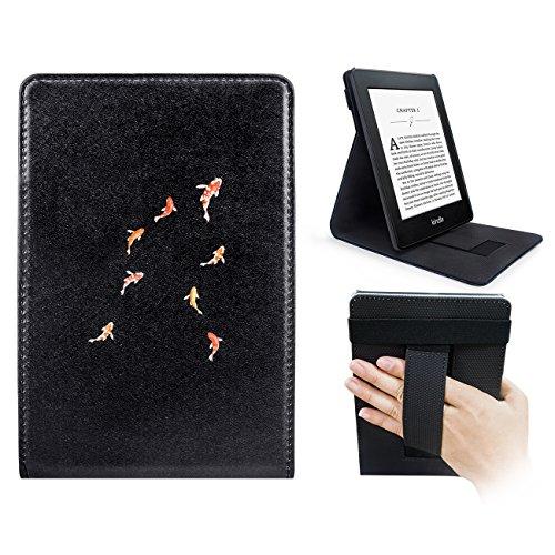 WALNEW Vertikale Flip Hülle für Kindle Paperwhite Magnetische Auto Sleep/Wake Funktion, Cover mit Handriemen Amazon Kindle Paperwhite