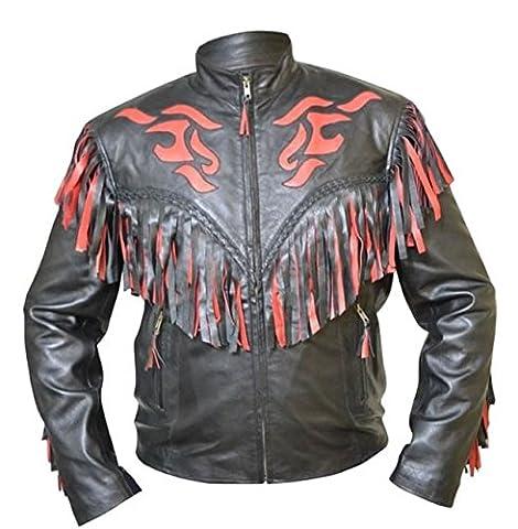 coolhides Veste de cowboy original motard en cuir à franges