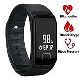 Smartwatch Orologio Intelligente, DAWO IP67 Impermeabile Fitness Tracker, Bluetooth 4.0 Bracciale Fitness con Pressione Arteriosa/Ossimetro e Cardiofrequenzimetro Per iPhone ios / Android (Nero)