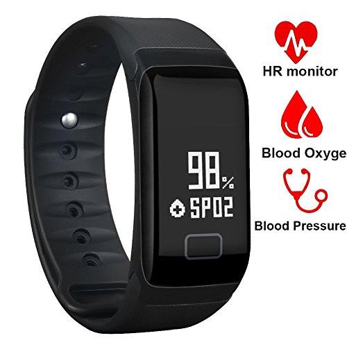 Fitness Tracker, Dawo Fitness Armbanduhr Wasserdicht Fitness Tracker HR mit Herzfrequenz / Schlafanalyse / Kalorienzähler / Aktivitäts Tracker Schrittzähler / Blutdruck und Blutsauerstoffgehaltmessung - Smart Fitness Armband Android IOS