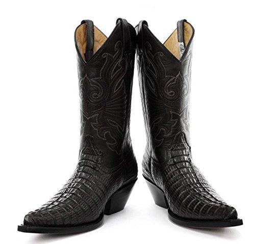 Bottes Véritable Marron Western Homme Noir Cowboy Cuir Pointus qY7Xff