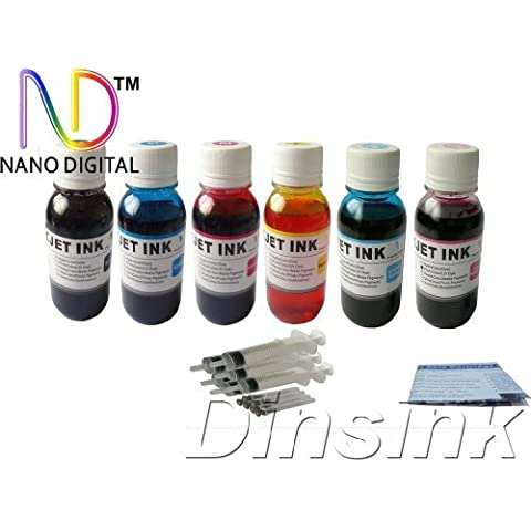 Ink Refill Kit: 6x4oz Premium Nano Dye Ink and 6 Syringes for Epson T048 Ink Cartridges and Epson Stylus Photo Printers R200, R220, R300, R320, R340, RX500, RX600, RX620 ... by