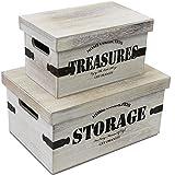 2tlg. Kistenset Holzkisten Dekokisten Aufbewahrungskisten mit Deckel