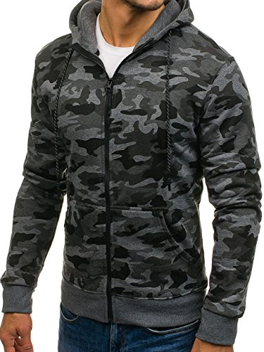 BOLF Herren Pullover mit Kapuze Sweatshirt Langarmshirt Sweatjacke Militär Army Camo Muster 1A1 Dunkelgrau_DD129