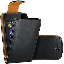 FoneExpert® Nokia Asha 230 - Etui Housse Coque en Cuir Flip Case Cover pour Nokia Asha 230 / Nokia Asha 230 Dual Sim (Noir)