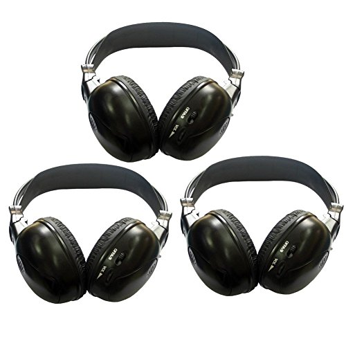 3 Pack of Audio Listening headsets Infrared Headphones Two Channel Folding Universal Rear Entertainment System Wireless IR DVD Player Head Phones Sets for in Car TV Video