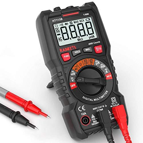 Digital Multimeter, KAIWEETS Strommessgerät Auto Ranging True RMS 4000 Counts, Messung von AC/DC Spannung, Strom, Widerstand, Diode, Durchgangsprüfung, Battrietester für Zuhause, KfZ etc.