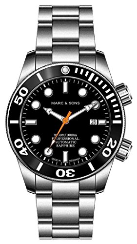 MARC & SONS  - Orologio subacqueo automatico 1000 m, vetro zaffiro, valvola...
