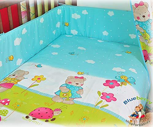 blueberryshop Babybett Bettbezug und Kissenbezüge Bettwäsche Set, 150x 120cm, blau Teddy, 2-teilig