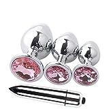 4 pièces jouets en alliage d'aluminium Plug pour hommes et femmes,Plugs de Jouets Métal Avec Trois Tailles L/M/S