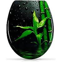"""WC Sitz mit Absenkautomatik - """"Zen Bambus"""" Design - Antibakterieller Duroplast Toilettendeckel inkl. Montagesatz - Grinscard"""