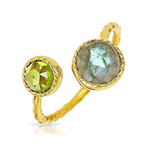 Bling Jewelry Labradorite Peridot Ouvrir enrouler autour de bague en