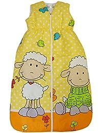 """DAS ORIGINAL BOMIO® Baby Sommer-Schlafsack """"Schäfchen (Gelb)"""", Öko-Tex Standard 100, Größen von """"70 cm bis 110 cm"""""""
