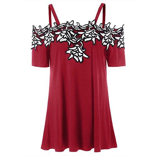 Lace Appliqué aus Schultergurt Sling Kurzarm T-Shirt -
