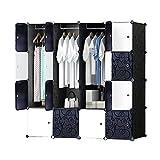 ETTBJA DIY Plastik Schrank Portable Kleiderschrank mit schwarz-weiß-Türen Speicher-Design ihre eigenen (12 Würfel mit 2 hangers)
