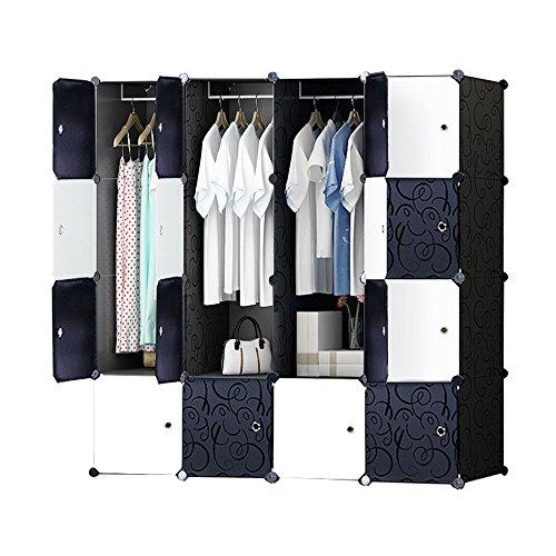 DIY Plastik Schrank Portable Kleiderschrank mit schwarz-weiß-Türen Speicher-Design ihre eigenen (16 Würfel mit 3 hangers)