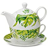 matches21 Tea For One Teekanne Set Monstera Fensterblatt Blatt Dekor Porzellan Geschenkkarton Tasse & Teekanne 560 ml
