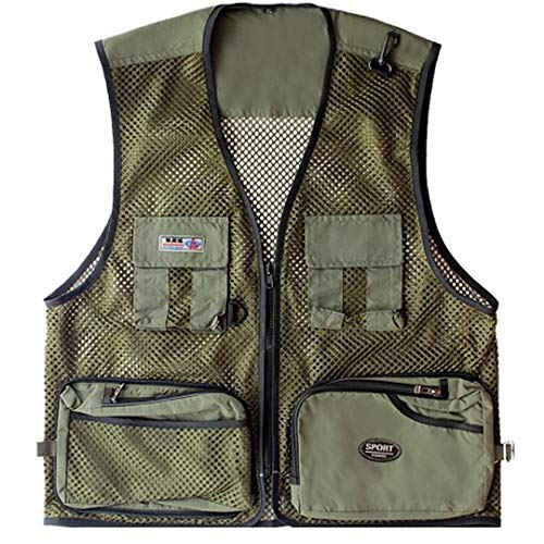 Men Summer Outdoor Vest Multi-Pockets Photography Fishing Vest Mesh Waist Coat Photography Clothing Army Green XL -