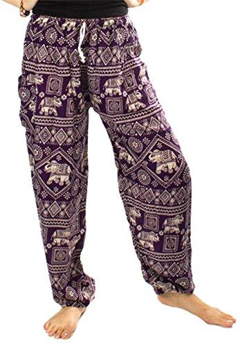 Lofbaz Mujer Elefantes Sello Cordón Harén Boho Pantalones Morado Oscuro M