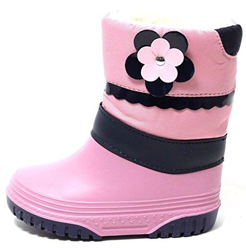 Zapato Mädchen Stiefel Schneestiefel Snowboots Duck Boot Winterstiefel Gr.21-28 WARM WASSERDICHT mit Gummi Galosche und ALU Isolierung ROSA PINK (21/22)