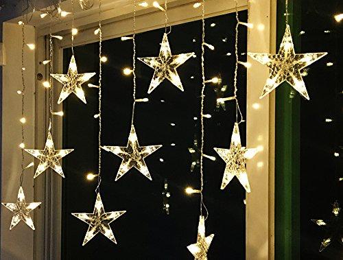 Drei Licht-wand-streifen (BLOOMWIN Lichtervorhang Stern 3*0.65M Warmweiß, 120 LED 220V 8Modi Girland Star Curtain Fairy Light Weihnachtsbeleuchtung Fensterdeko für Innen, Wand, Fenster, Tür)