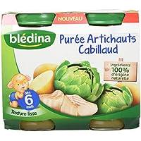 Blédina Pots Purée Artichauts Cabillaud 2x200 g- Pack de 6