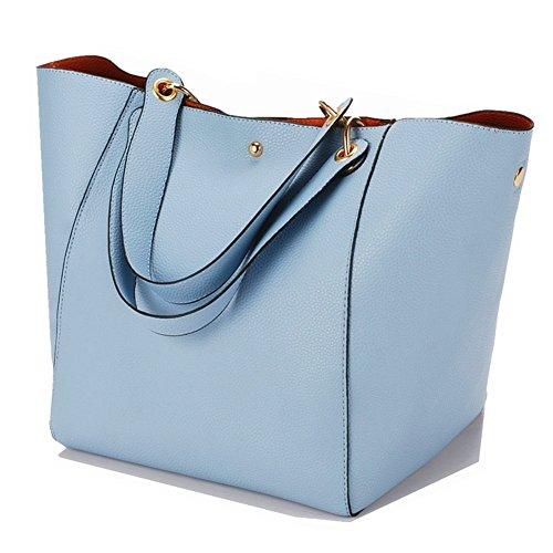 Mkechers Leder 8 Farben Neu Elegant Große Handtasche Europäische stil Schultertaschen Umhängetasche Shopper Tasche Henkeltasche Beuteltasche Weich Damentasche (Hellblau)