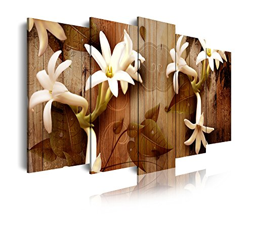 Dekoarte 420 - Cuadro moderno en lienzo de 5 piezas, diseño de flores blancas estilo vintage, 150x80cm