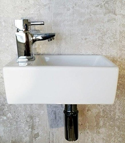 Small Compact Bathroom Cloakroom Basin Sink Wall Hung Square White