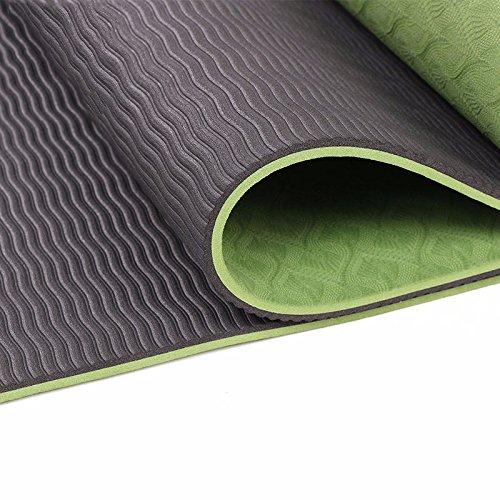 WEAF-Esterilla de yoga,TPE Doble Capa, Eco-friendly TPE Material,183x61x0.6cm, gris
