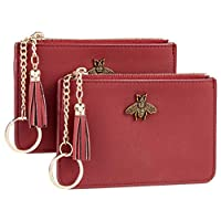 2 Pack Women Coin Purse Change Wallet Coin Pouch Card Holder Clutch with Key Chain Ring Tassel Zip by Gostwo(Napa Red Deep)