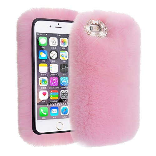 iPhone SE Hülle, iPhone 5s Hülle, iPhone 5 Hülle, Vandot 3D Diamant Schutzhülle iPhone SE 5S 5 Case Cover Bogen Rhinestone Bling Kristall Shining Handmade Handgefertigt Handyhülle Transparent TPU Sili Kaninchen Pink Rosa