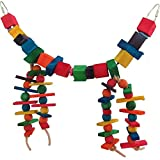 #7: KSK Wooden Bird Toys in Cage for Parakeets,Parrots,Cockatiels,Conure (Large)