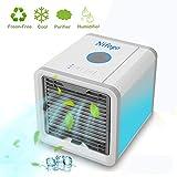 Nifogo Arctic Air Mini Luftkühler Mobiles Klimageräte Ventilator, Air Cooler USB Air Conditioner 3 in 1 Raumluftkühler, 3 Stufen und 7 Farben LED Nachtlicht,Tragbarer Tischventilator für Büro, Hotel,Garage und Haus