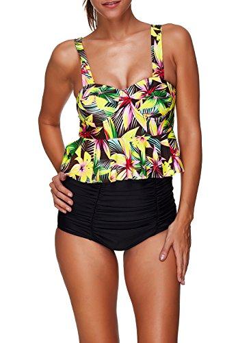 Azue Damen Frauen Mädchen Hoch Taille Zweiteilig Pinup Vintage Floral Bauchweg Bikini Set Bademode Badeanzug Gelb Lilie XL (Badeanzug Floral Gelb)