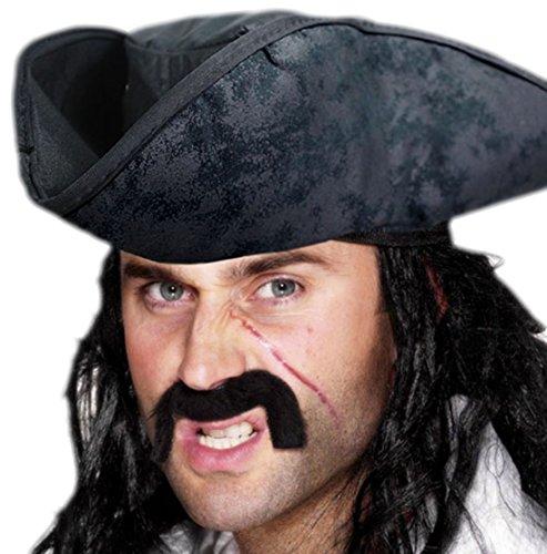 erdbeerclown - Herren Piraten Hut, Kostüm Zubehör, Karneval, Halloween, Schwarz