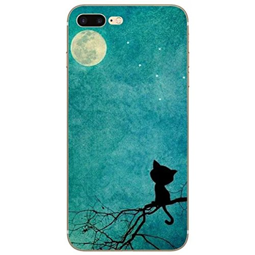 Custodia iPhone 7, Yoowei® Divertente Motivo Design Colorato Cristallo Trasparente Ultra Sottile Morbido TPU Gel Case Cover per iPhone 7 4.7 (Aeroplano di carta) Moon cat