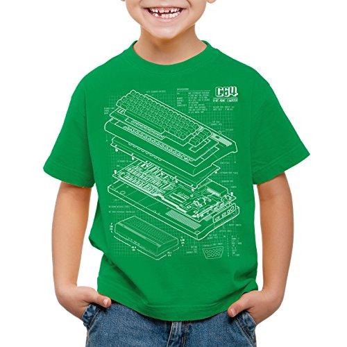 style3 C64 Heimcomputer T-Shirt für Kinder Classic Gamer, Farbe:Grün;Größe:116