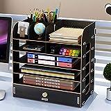 Freedom BüRo Vertikale Desktop Holz BüCherregal Aufbewahrungsbox, GroßE KapazitäT Multi-Funktion Partition File Storage Sicherheit Und Umweltschutz Schublade,Black