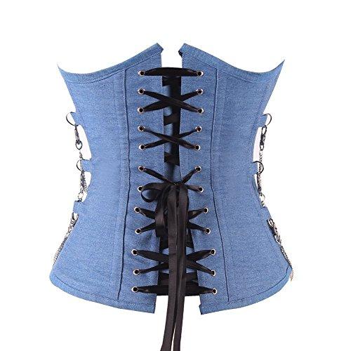 FeelinGirl Damen Korsett mit Kunstleder und Brokatmuster gotischen Stil Bustier Vintage Korsage Top Steampunk Corsagentop Gothic Rockabilly Blau