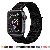 Corki für Apple Watch Armband 38mm 40mm, Weiches Nylon Ersatz Uhrenarmband für iWatch Apple Watch Series 4 (44mm), Series 3/ Series 2/ Series 1 (42mm), Dunkles Schwarz