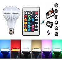 Lampada LED E27 Bianco + RGB Lampadina Colorata Altoparlante Bluetooth Smart Smart Musica Audio Bluetooth Speaker Con Telecomando per Feste KTV Iluminazione bBar Decorazione Casa 24Key Telecomando