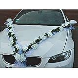 aoory Guirlande de Roses pour Voiture Décoration de Mariage pour Automobile (Blanc/Blanc)