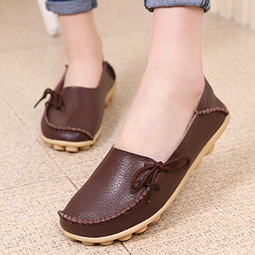 Fisca - Mocassini da donna, stile casual, scarpe piatte Coffee