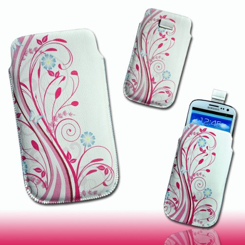 Handy Tasche Kunstleder weiß/pink M27 für Samsung Galaxy S3 i9300 / Samsung Galaxy S III i9300 / HTC One XL / HTC One X / HTC Velocity 4G / HTC Sensation XL / HTC Titan / LG Optimus True HD P936 / LG Optimus 4X HD P880 / Motorola RAZR Maxx