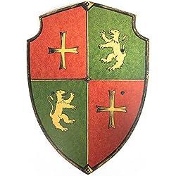 VAH - Robusto, curvado Knight Shield - Tema: Royal Cross / Leones - Material: madera de álamo - Dimensiones: 36 / 50cm - Color: verde-rojo [Elaborar Cruz / motivo león | Pinturas seguras | Correas remachadas de cuero sintético | Made in Germany]