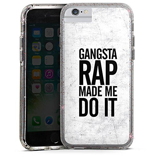 Apple iPhone 7 Bumper Hülle Bumper Case Glitzer Hülle Musik Music Rap Bumper Case Glitzer rose gold